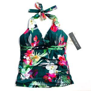 $89 NWT Dark Green Hawaiian Floral Tankini TOP - 4